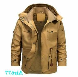 Mens Winter Thick Fur Lined Hooded Jacket Zipper Warm Bomber
