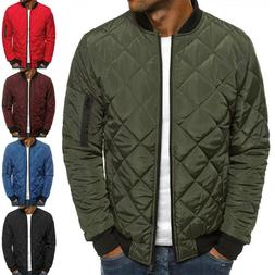 Mens Winter Warm Padded Quilted Puffer Bomber Jacket Coat Zi
