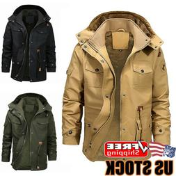 Mens Winter Warm Thick Fur Lined Jacket Zipper Hooded Bomber
