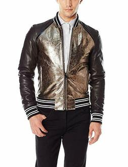 Just Cavalli Metallic Gold Leather Blend Bomber Jacket Size