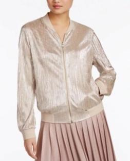 INC International Concepts Metallic Pleated Bomber Women's J