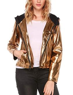 Women's Metallic Zipper Motorcycle Biker PU Leather Crop Jac