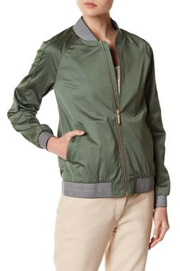 NEW $329 Ted Baker London Calda Trim Bomber Jacket Khaki Gre