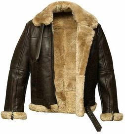 Men's RAF Aviator Real Leather Jacket Coat Bomber B3 Sheep S