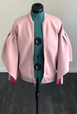 NEW Ted Baker Dusty Pink Structured Bomber Jacket Puff Sleev