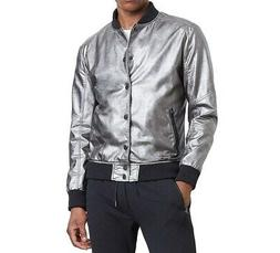 Kenneth Cole Reaction NEW Gray Mens Medium M Metallic Bomber