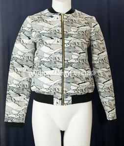 NEW Ted Baker Landscape Jacquard Print Bomber Jacket in Gray