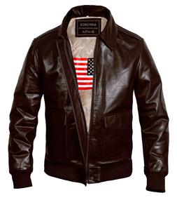 New Men's Air Force A2 Genuine Leather Flight Bomber Jacket