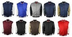 New Men's Baseball 2 Tone Snap Button Letterman Varsity Coll