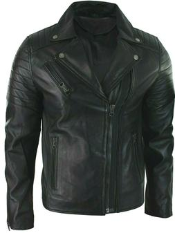 New Men's Bomber Biker Vintage Black Genuine Leather Slim fi