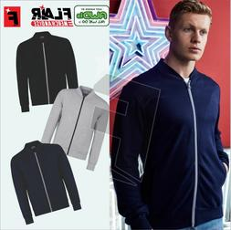 New Mens Bomber Jacket Sweatshirt Modern Fit Contrast Zip Va