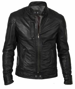 NEW MENS BOMBER VINTAGE BLACK GENUINE LEATHER JACKET SLIM FI