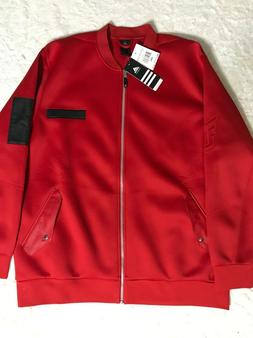 NEW Adidas Men's Scarlet Red Dame Core Bomber Embossed Jac