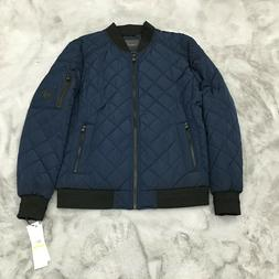 New Calvin Klein Quilted Bomber Jacket Blue Mens Size Medium