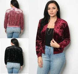 New Womens Plus Size NWOT Crushed Velvet Bomber Jacket