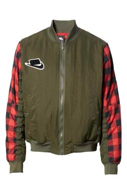 Nike NSW Bomber Fill Jacket BV4532-325 Men's Olive Plaid Red