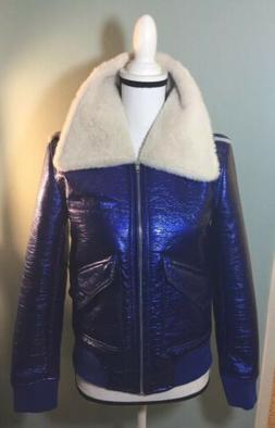 NWOT Belle Vere Vegan Metallic Blue Faux Fur Aviator Bomber