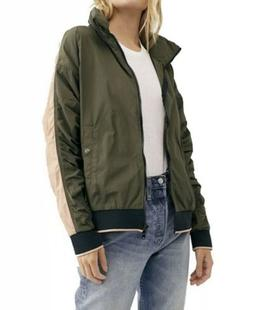 NWT FREE PEOPLE Army Combo Green Long Sleeve Bomber Hooded J