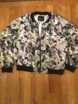NWT  SANCTUARY for Anthropologie Florafauna Zip Front Bomber