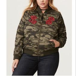 NWT Torrid Green Camo Roses - Come As You Are - Bomber Jacke