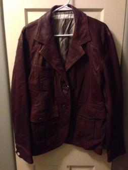 Perry Ellis NWT Leather Jacket Blazer Field jacket Motto Bom