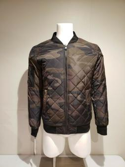 NWT Calvin Klein Men's Quilted Bomber Jacket Olive Camo Size