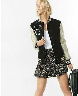 nwt EXPRESS varsity pin embellished metallic bomber jacket M