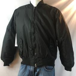 Ring Of Fire Black Nylong Flight Bomber Jacket NWT $60 Men's