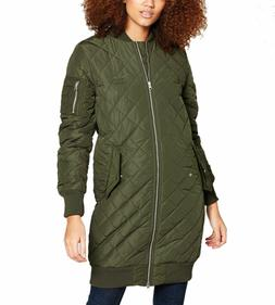 adidas Originals Women's Long Quilted Bomber Jacket Green Wa