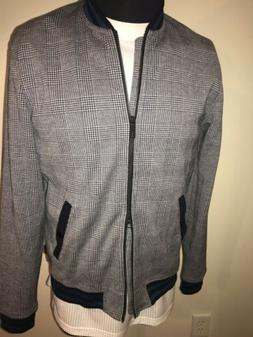 TED BAKER QWEAN CHECKED BOMBER RENDER JACKET GREY SZ. 4