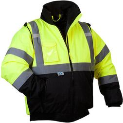 Pyramex RJ3210XL LUMEN-X Hi-Vis Lime Bomber Jacket with Quil