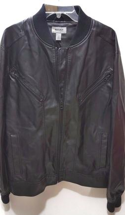 Kenneth Cole Reaction Men's Seamed Faux-Leather Bomber Jacke