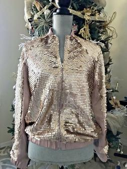 Sequins Bomber Jacket in Soft Golden and Blush color SMALL
