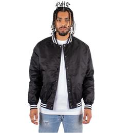 SHAKA MEN'S LIGHTWEIGHT BOMBER VARSITY JACKET CASUAL SNAP-FR