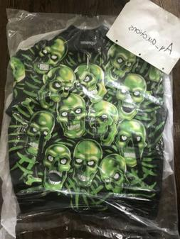 Supreme Skull Pile Leather Bomber Jacket XL Green Authentic