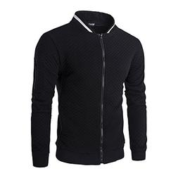 SHDAS Men's Slim Fit Zip Up Square Pattern Quilted Bomber Ja