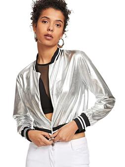 SweatyRocks Women's Shiny Metallic Striped Lightweight Zip-u