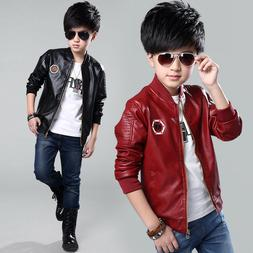 Teenage Boys Bomber Synthetic Leather Jacket Outerwear Child