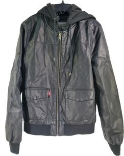 Levi's Women's Two-Pocket Faux Leather Hooded Bomber Jacket,