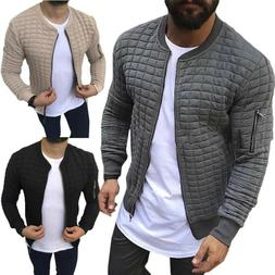 US Men Casual Solid Business Jacket Baseball Outwear Quilted