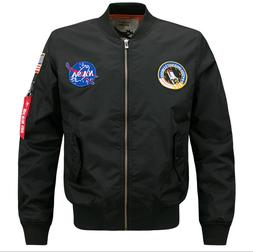 US MENS EMBROIDERED NASA JACKET MILITARY ARMY FLIGHT BOMBER