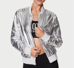 VICTORIAS SECRET JACKET METALLIC BOMBER SILVER VS SPORT Medi