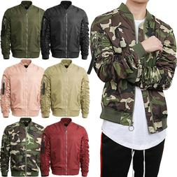 Mens BOMBER JACKET Windbreaker Zip Up  Casual Lishgt Gathere