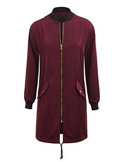 WJC1258 Womens Oversize Long Bomber Jacket S WINE
