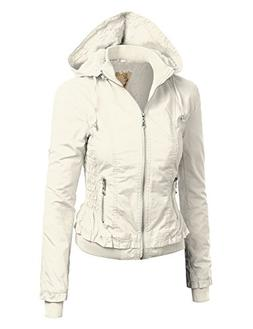 WJC666 Womens Gather Up Bomber Jacket XS WHITE