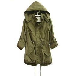 Women Army Green Long Bomber Jacket Military Hooded Anorak P