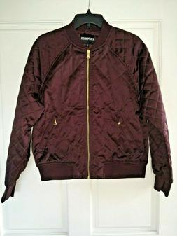 EXPRESS Women Bomber Jacket Quilted Diamond Pattern Maroon G