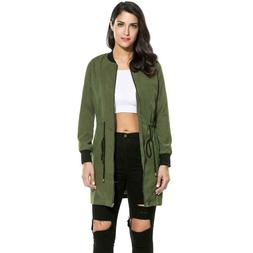 Women Fashion Long Sleeve Solid Zip-up Long Bomber Jacket LK