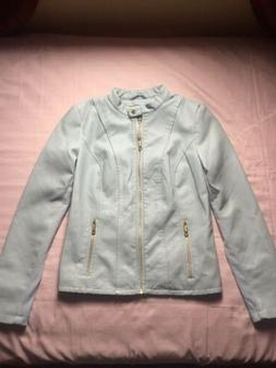 Women's Kenneth Cole Reaction Bomber Jacket Lt Blue Sz Mediu