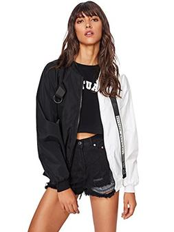 SweatyRocks Women's Casual Lightweight Color Block Bomber Ja
